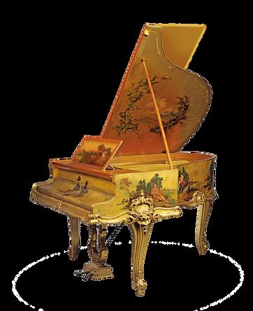 Золотой рококо-рояль «Маркиза де Помпадур» золотой с живописью(фото)