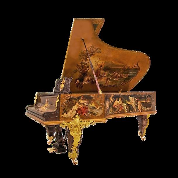 Самый красивый рояль Император золото бронза живопись Ренессанс (фото)