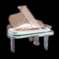 Кабинетный рояль Blüthner (Германия) в прозрачном корпусе с золотой полосой (фото)