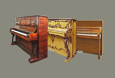 Коричневые фортепиано различных пород дерева (фото)