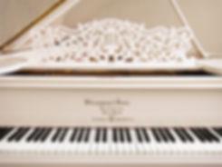 Steinway & Sons белый кабинетный рояль Стейнвей реплика старинного резного дизайна (фото)