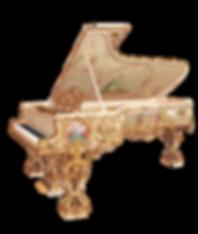 Светлый бежевый рояль рококо Король-солнце Людовик Четырнадцатый (фото)