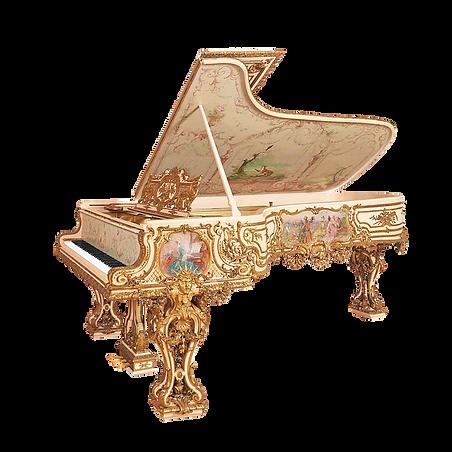 Самый красивый рояль Король-Солнце Людовик Четырнадцатый бежевый с золотом и живописью (фото)