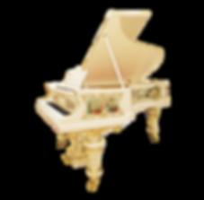 Бело-золотой с живописью немецкий рояль Блютнер (Лейпциг), фото
