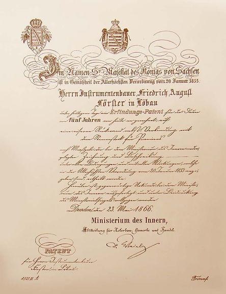 Патент короля Саксонии Августу Фёрстеру (фото)