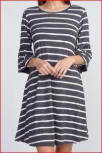 Striped Ruffle 3/4 Sleeve Dress