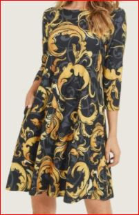 Elegant Print A-Line Dress with Pockets