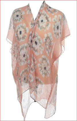 Sheer Pleated Printed Shawl