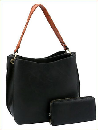 Double Compartment Two-tone Hobo Wallet Set
