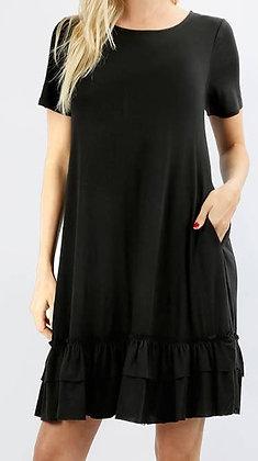 Vicose Short Sleeve Ruffle Dress