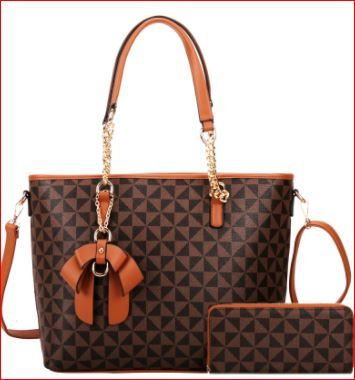 Bow Accent Classy Shopper With Wallet Set