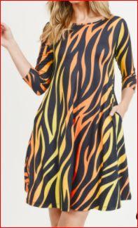 Zebra Print A Line Dress with Pockets