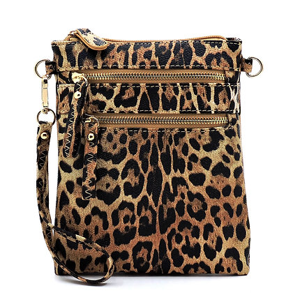 Leopard Multi Zip Pocket Crossbody