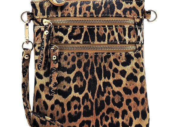 Leopard Multi Zip Pocket Crossbody