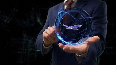 Businessman shows concept hologram 3d je
