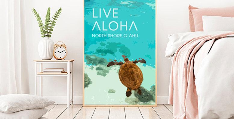 Honu, Hawaiian Green Sea Turtle North Shore, Oahu -Photo-