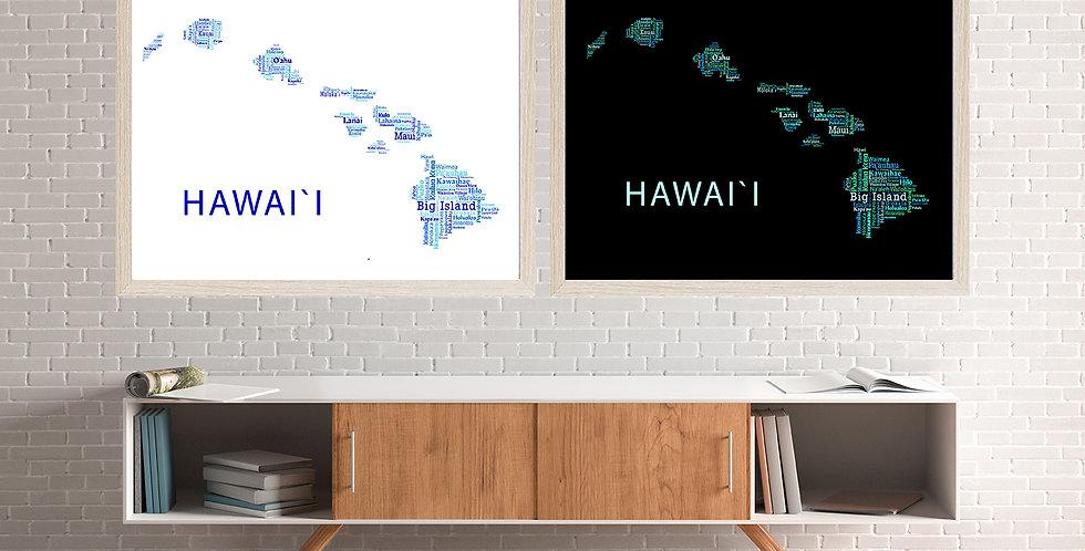 Hawaii Word Art, Blue Set