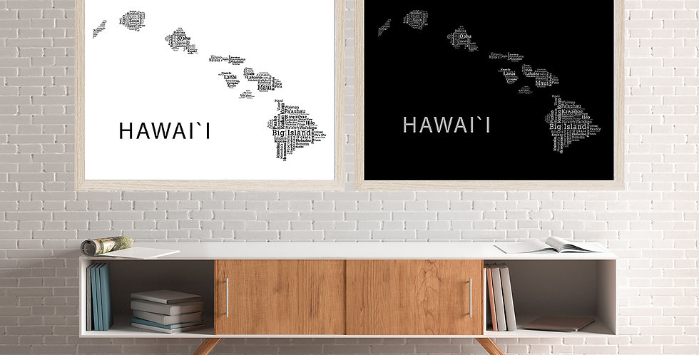 Hawaii Word Art, Black & White