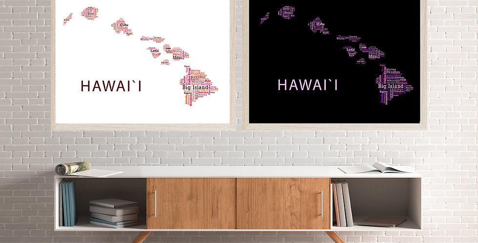 Hawaii Word Art, Pink Set