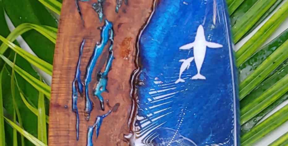 "28"" Waimea Valley Koa with Humpback Whales"