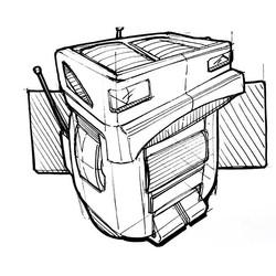 Random Sketch #robo #friend #print #desi