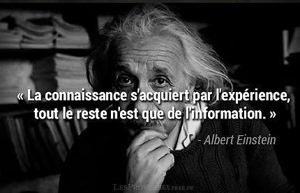 La connaissance s'acquiert par l'expérience, tout le reste n'est que de l'information. Einstein