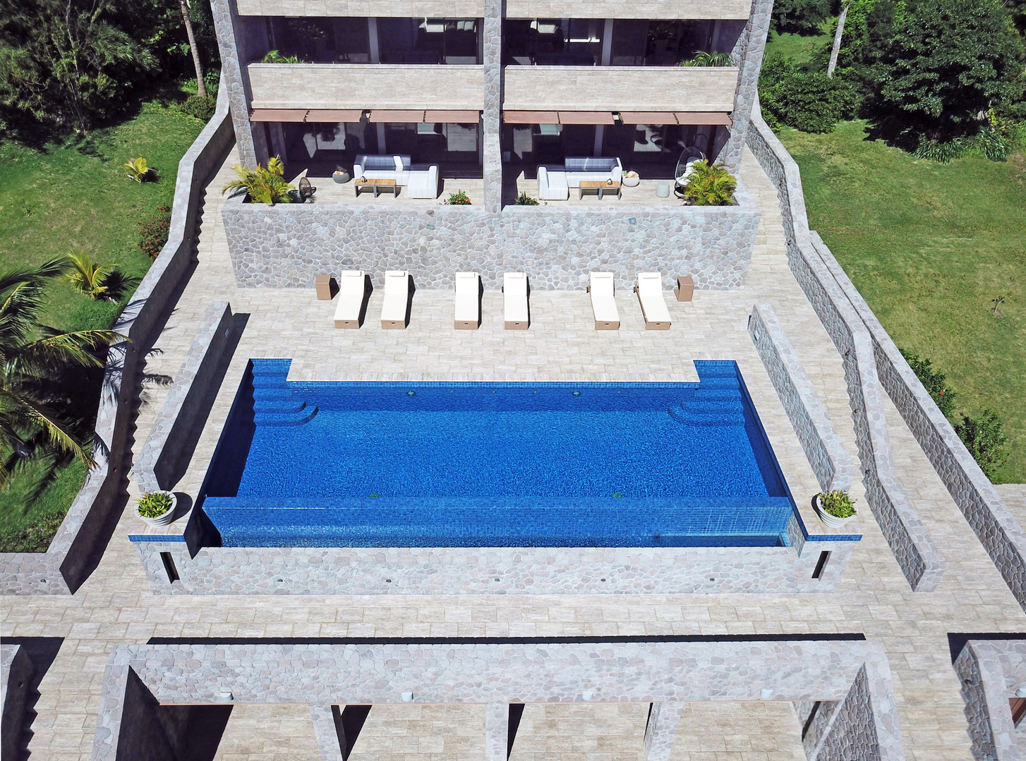 One of two communal pools