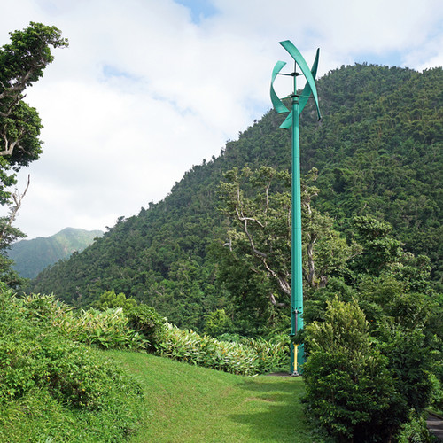 One of two vertical wind turbines