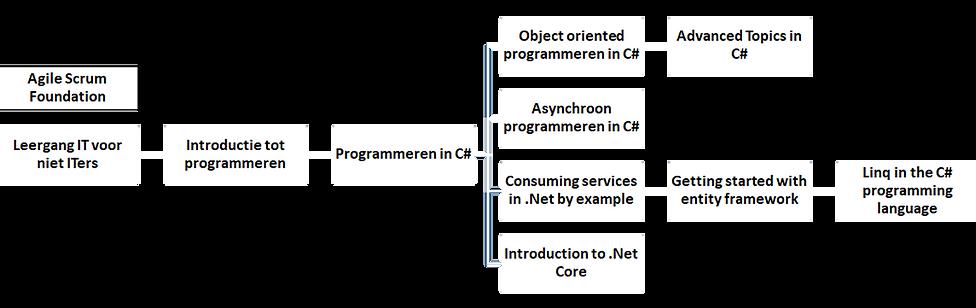Voorbeeldschema van de opbouw van het C# traject