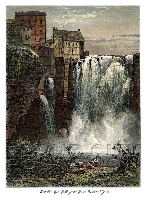 East Side, Upper (High) Falls of the Genesee, Rochester, N.Y. (COLORIZED)