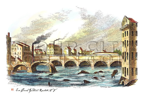 The first and second Erie Canal Aqueduct, Rochester, N.Y. (COLORIZED)