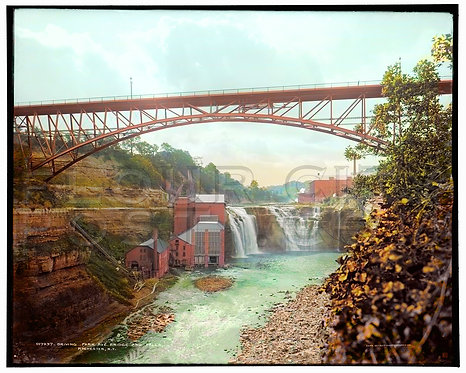 Driving Park Avenue Bridge and Falls, Rochester, N.Y (COLORIZED)
