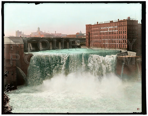 Upper Genesee (High) Falls, Rochester, N.Y (COLORIZED)