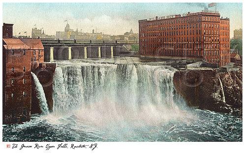 Genesee River, Upper Falls, N.Y. Central R.R. Bridge, Rochester, N.Y (COLORIZED)