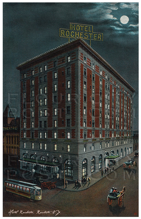 Night view of the Hotel Rochester, Rochester, N.Y.