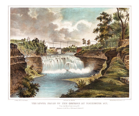 The Lower Falls of the Genesee River, Rochester, N.Y. (COLORIZED)