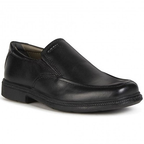 Geox Federico D black leather school shoe