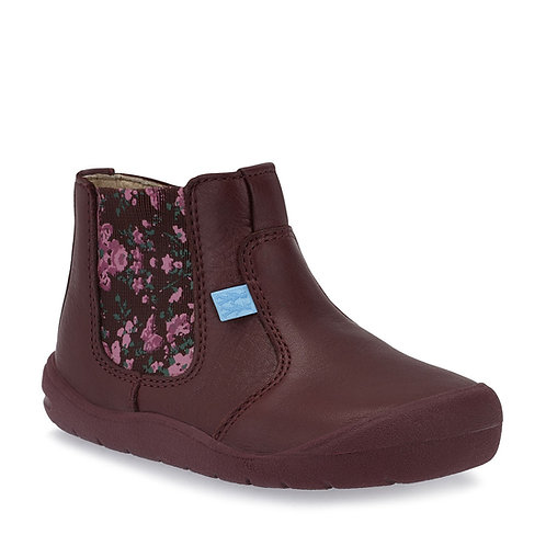 Start-rite First Chelsea Wine Leather Floral Boot