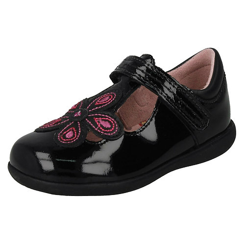 Start-rite Black Patent Leather April T-Bar Shoes