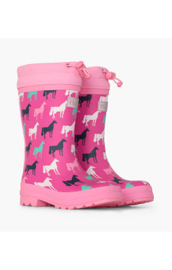 Hatley Sherpa horse welly pink