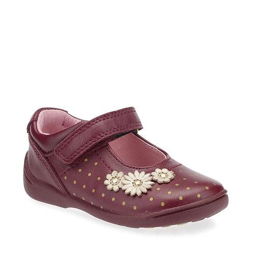 Start-rite Super Soft Daisy Wine Leather Girls Riptape Shoe