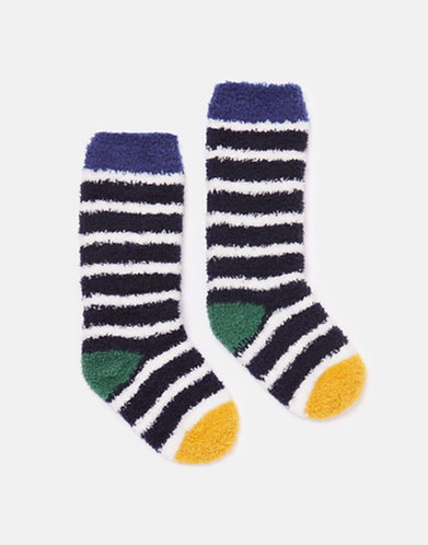 Joules Navy Stripe Fluffy Socks