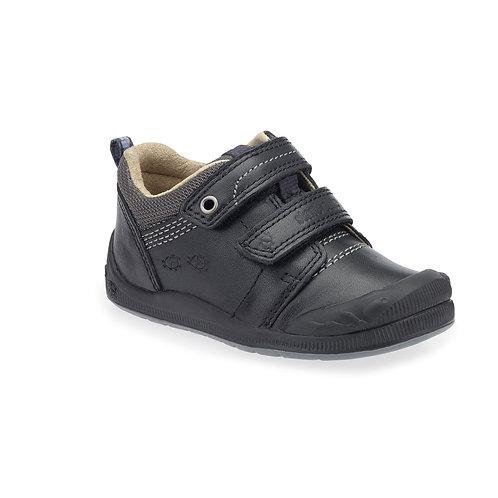 Start Rite Beetlebug Black Leather Rip Tape School Shoe