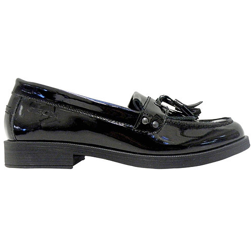 Geox Agata Black Patent Leather Loafer School Shoe