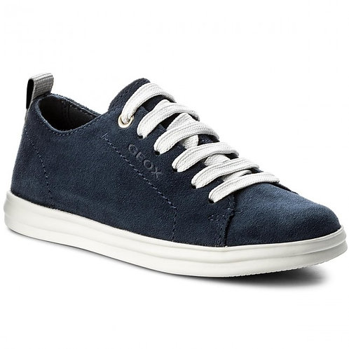 Geox J Anthor Navy Leather/Suade Casual Shoes