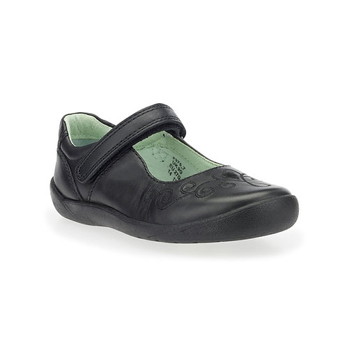 Start-rite Elza Black Leather Rip-Tape School Shoe