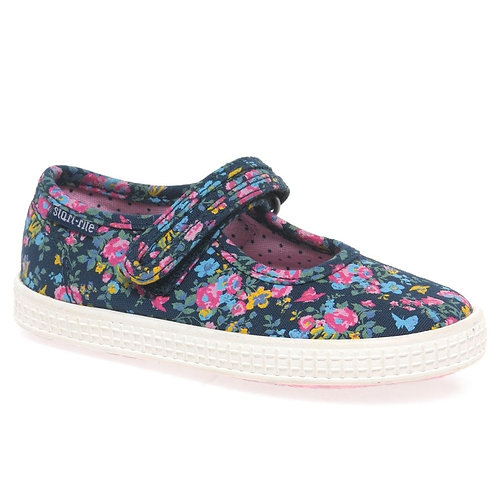 Start-rite Posy Navy Floral Rip-tape Canvas Shoe