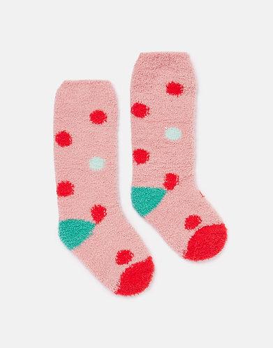 Joules Pink Spot Fluffy Socks