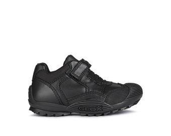 Geox Savage B black leather school shoe