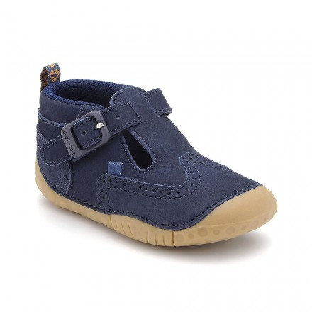 Start-rite Harry, Navy Blue Nubuck Buckle T-bar Pre-walkers